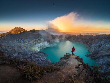 Вулкан Иджен от заката до рассвета